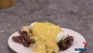 Waffle eggs benedict with Chef Harley Darnel
