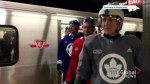 Toronto Maple Leafs take the subway to practice at city hall in full equipment