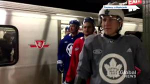 Toronto Maple Leafs take the subway to practice at city hall in full equipment (01:08)