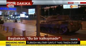 Tanks roll on Istanbul's airport amid claims Turkish military has seized control of country