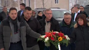 Wall, Goodale and Bellegarde lay wreath at La Loche