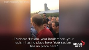 Trudeau calls heckler racist during event in Quebec