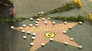 Fans gather at U.S. rocker Tom Petty's star on Walk of Fame