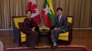 Trudeau meets with Myanmar's Aung San Suu Kyi on Rohingya crisis