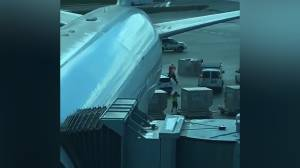 Toronto Pearson Airport personnel dodge luggage containers sent flying in strong winds