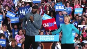 LeBron James introduces Hillary Clinton at rally in Cleveland, OH