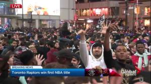 NBA Finals: Raptors fans climb light posts and bus shelters