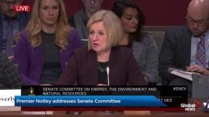 Premier Rachel Notley addressing Senate committee on Bill C-69 and energy concerns