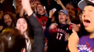 Raptors fans celebrate in Toronto streets after game 1 win of NBA finals
