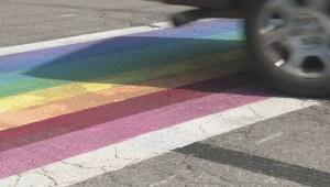 Salmon Arm rainbow crosswalk vandalized again