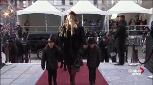 Celine Dion, children arrive at funeral for René Angélil