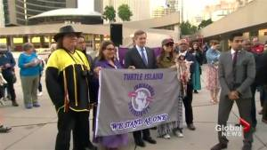 Toronto marks National Aboriginal Day with indigenous flag installation at City Hall