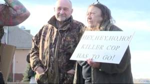 Protesters want Alberta police officer fired for running over, killing deer
