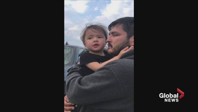 Emotional video of toddler seeing Paddle Prairie home destroyed by wildfire shared online