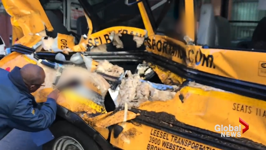 Video shows kids trapped in school bus after terror attack