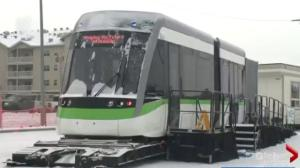 Valley Line LRT mock-up car on display in Edmonton