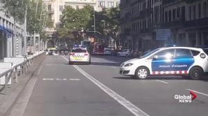 Sirens wail in Barcelona's Plaça Catalunya square following suspected van attack