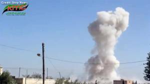 Activist video alleges to show moment airstrike hit school in Idlib, Syria