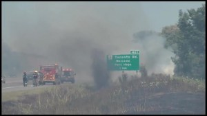 Fires along Highway 401 believed to be deliberately lit