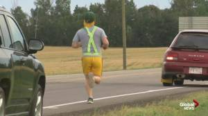 Phi Gamma Delta fraternity fundraising relay race to Red Deer (03:40)