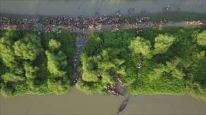 Striking drone footage shows thousands of Rohingya refugees entering Bangladesh