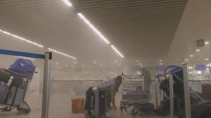 Immediate aftermath in Brussels airport following terror attack