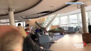 Dramatic video shows passengers, furniture sliding inside stranded cruise ship