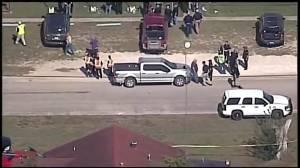 Aerial video of Texas church shooting