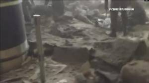 Local news cameras capture scenes of destruction at Brussels airport