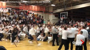 High School crowd goes wild after improbable buzzer beater wins game