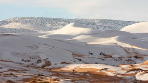 Rare snowfall covers northern Sahara Desert