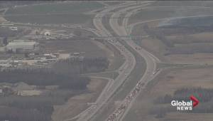 Grass fire and crash on Henday in west Edmonton (02:02)