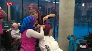 Edmontonians dye hair pink for annual fundraiser