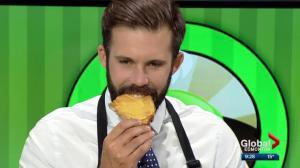 Global Edmonton anchor Kent Morrison tries peanut butter and Cheez Whiz sandwich