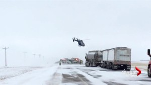 HALO helicopter takes off from southern Alberta highway collision