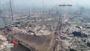 Drone video captures devastation left behind by California wildfires