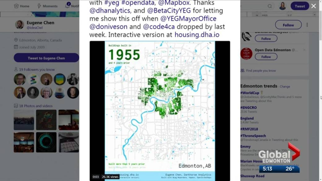 Click to play video: 'Interactive map shows century of sprawl in Edmonton'