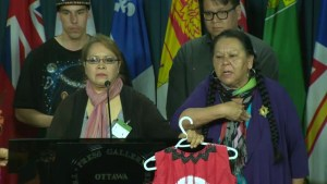 Indigenous demonstrators accuse media of being disrespectful in heated exchange with reporters