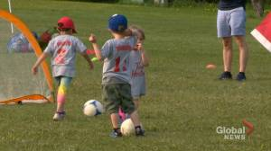 Calgary volunteers help revive kids' soccer program