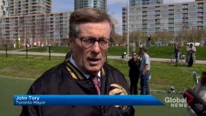 Mayor Tory talks Game 2 alongside new Raptors logo painted at downtown park