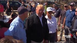 Trump hails efforts of first responders while seeing Hurricane Michael damage first hand