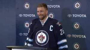 Blake Wheeler, the newest captain of the Winnipeg Jets speaks Wednesday
