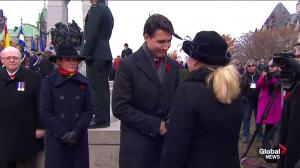 Silver Cross Mother greeted by dignitaries at National War Memorial
