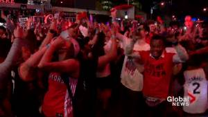 NBA Finals: Raptors fans fill streets of Toronto following team's huge Game 4 victory over Warriors (00:52)
