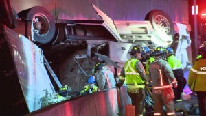 2 injured after tractor-trailer rollover on Hwy. 427 off-ramp