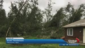Damage to Hanmore Lake cabin after tornado