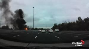 Dash cam video captures fireball erupt after fatal tanker crash on Highway 407 (00:59)