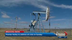 Rachel Notley says she'll announce plan to tackle oil price crisis on Sunday night