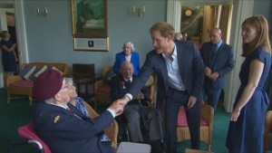 Prince Harry scolded by 91-year-old WWII veteran for not wearing tie