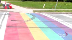 Bowmanville's rainbow crosswalk defaced again